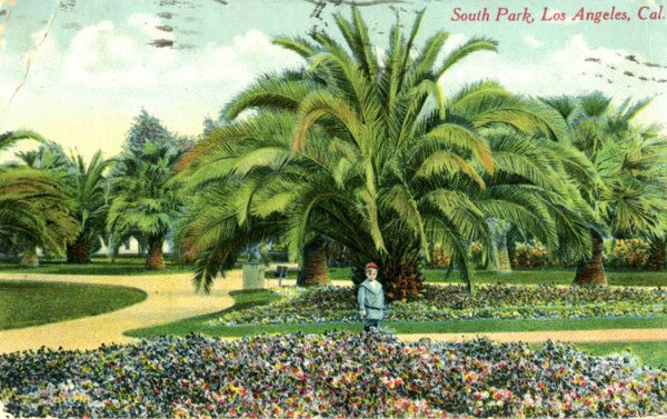 Regional boosters held up South Park, seen here circa 1911, as an example of Southern California's semitropical abundance. Courtesy of the South Bay History Collection, CSUDH Archives.