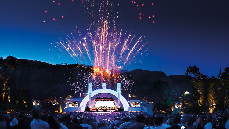 Hollywood Bowl shell with fireworks | Adam Latham