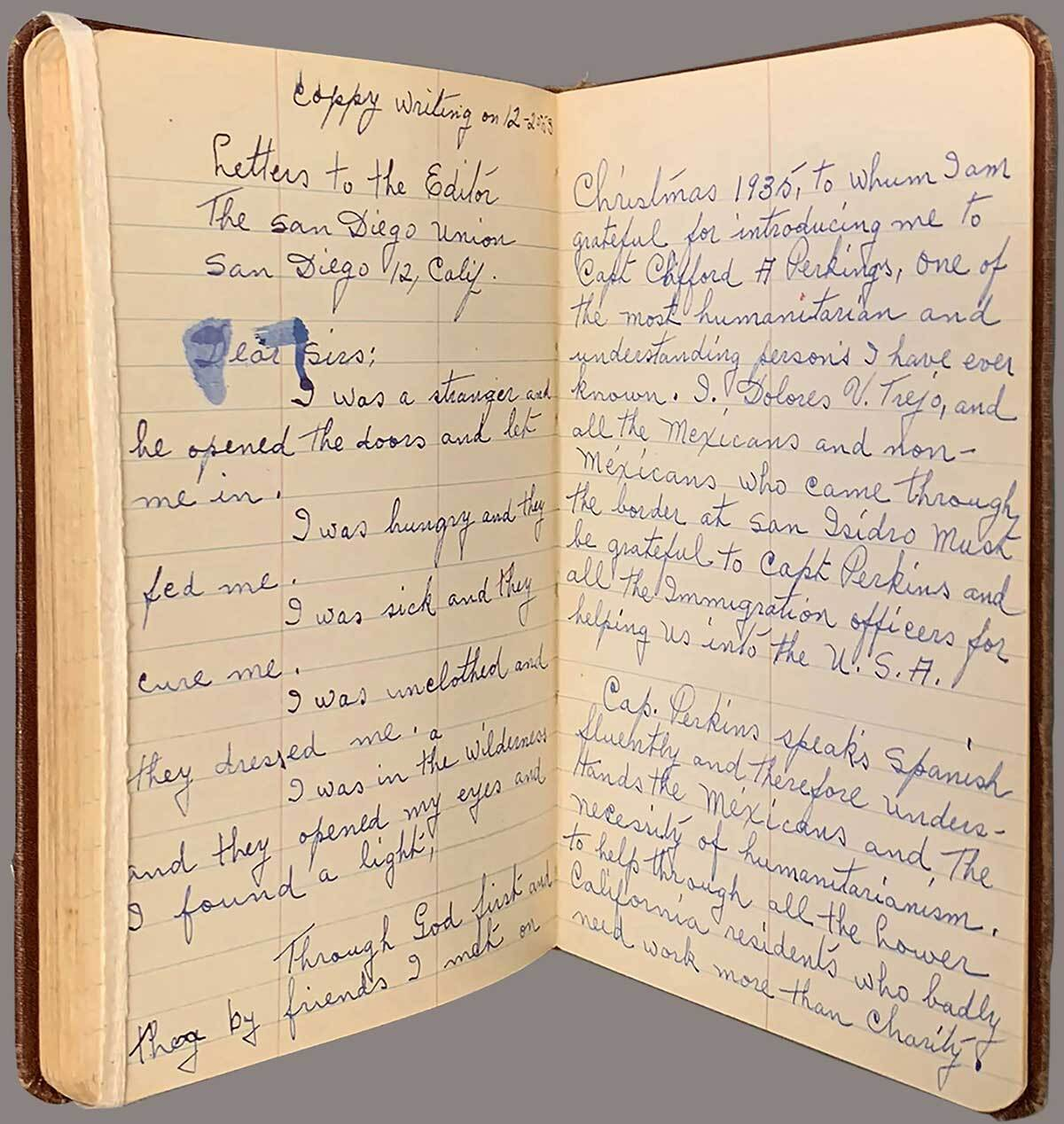 A page from the journal of Dolores V. Trejo, a single immigrant worker from Mexico who worked in California   The Huntington Library, Art Museum, and Botanical Gardens