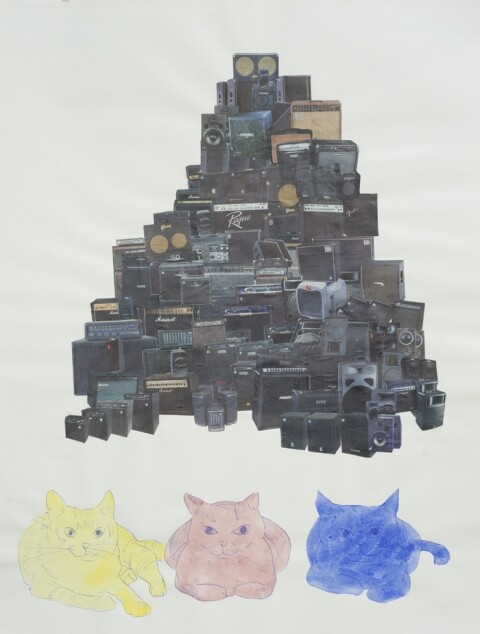 """Scott Marvel Cassidy, """"3 Cats,"""" 2005. Watercolor and collage on paper. 18 x 23 inches."""