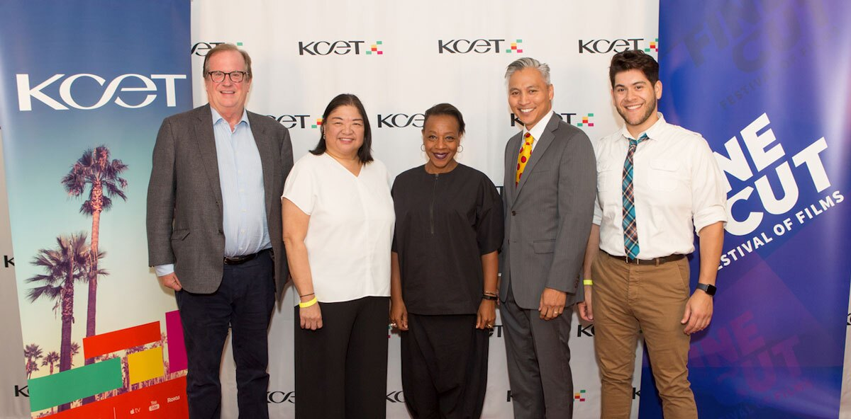 (L-R) Deadline.com Chief Film Critic Pete Hammond, IDA's Director of Programming & Policy Claire Aguilar, actress Marianne Jean-Baptiste, animator/writer producer Van Partible and story artist Michael Herrera arrive at the Fine Cut Festival of Films.