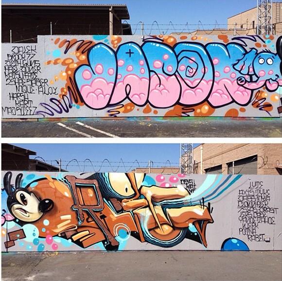 Hurley Back Wall Throw Ups by Craola and Jason Maloney