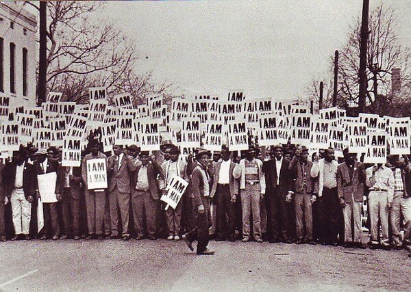 Photo of a postcard showing the 1968 Memphis Sanitation Protest.