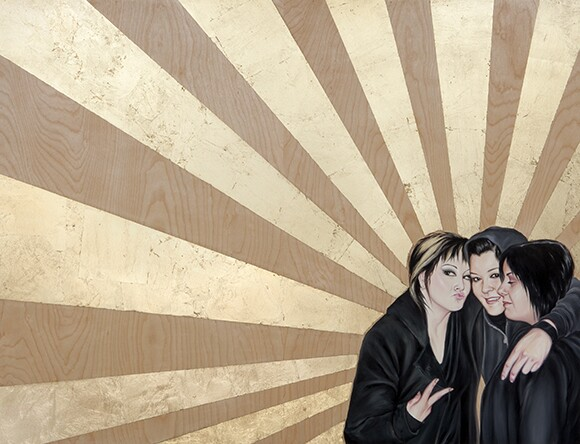"Three female figures embrace in a portrait by Shizu Saldamando called ""Carm's Crew."""