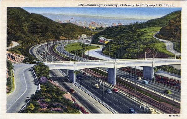 Postcard showing the Cahuenga Pass Freeway in 1947. Courtesy of the Werner Von Boltenstern Postcard Collection, Department of Archives and Special Collections, Loyola Marymount University Library.