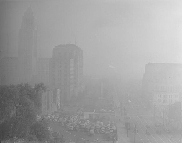 L.A. Civic Center masked by smog on January 6, 1948. Courtesy of UCLA Library Special Collections - Los Angeles Times Photographic Archive
