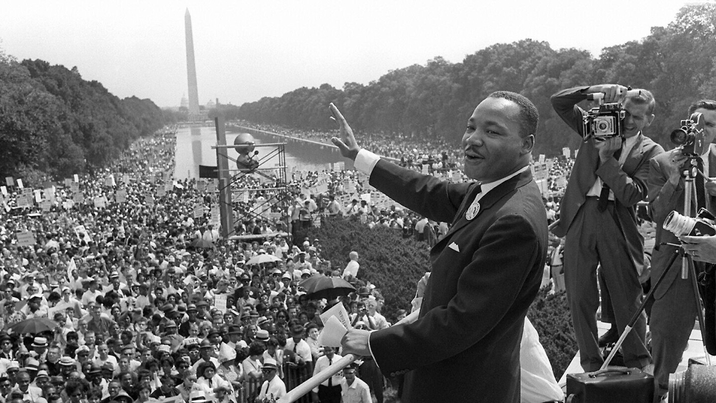Dr. Martin Luther King, Jr. speaking at the March on Washington, 28 August, 1963.