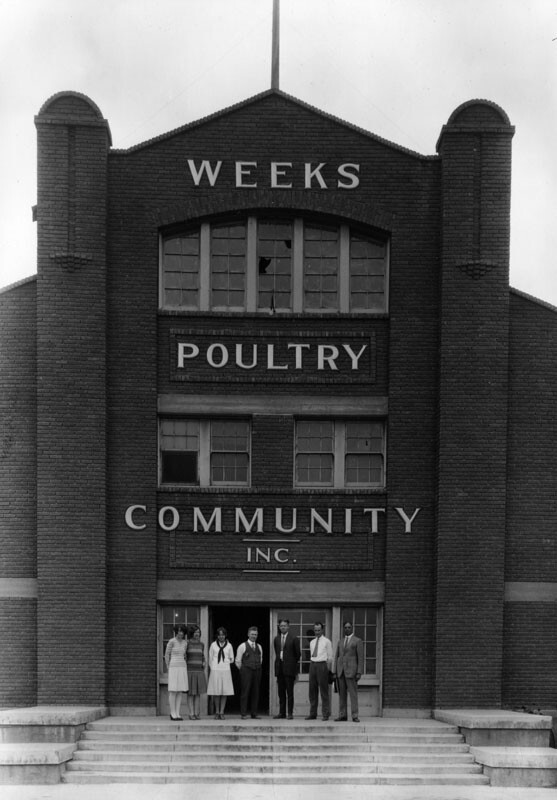 Office building of the Weeks Poultry Colony at 21228 Sherman Way in Canoga Park on July 14, 1927, founded by Charles Weeks as a utopian colony.