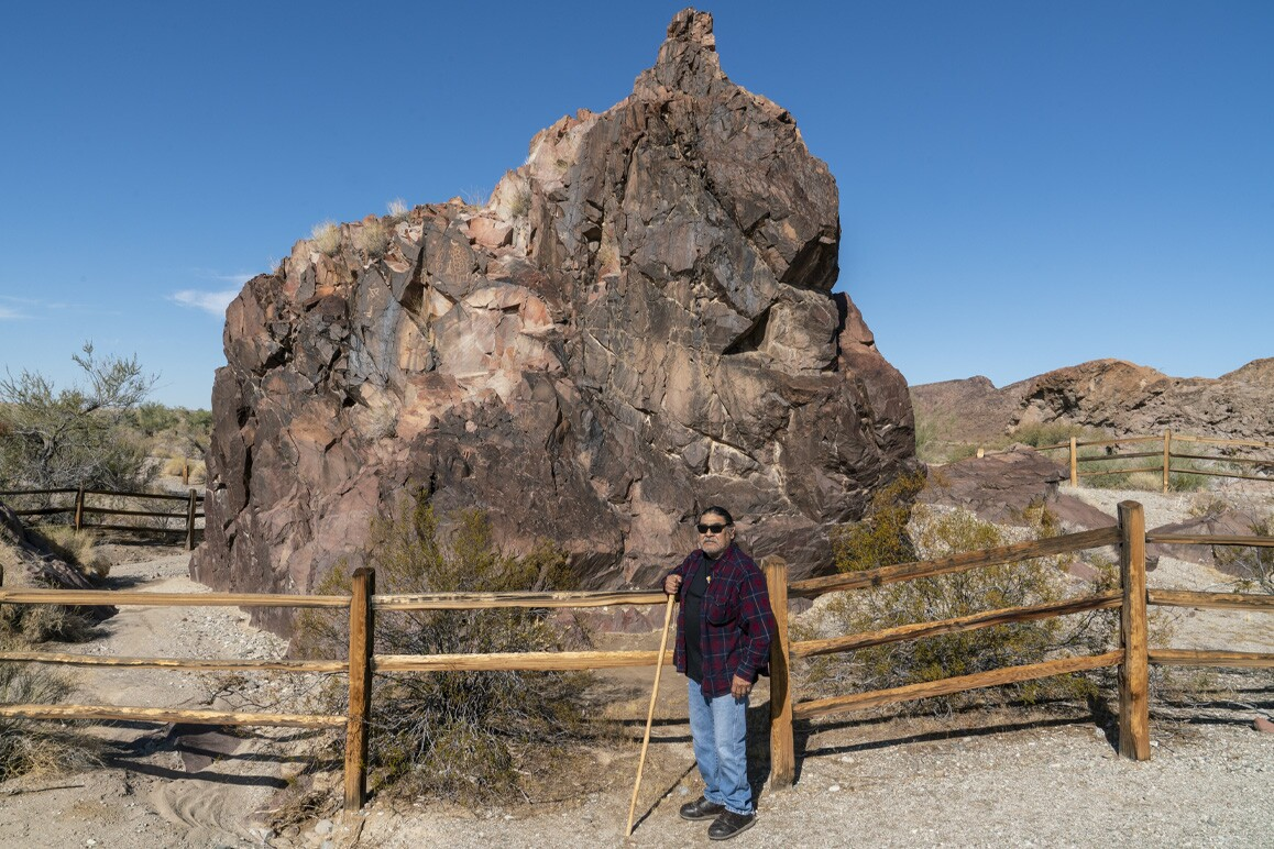 Matt Leivas, Sr. photographed at the historic West Well cultural site located south of Chemehuevi Wash and west of Lake Havasu. Photo: Kim Stringfellow.
