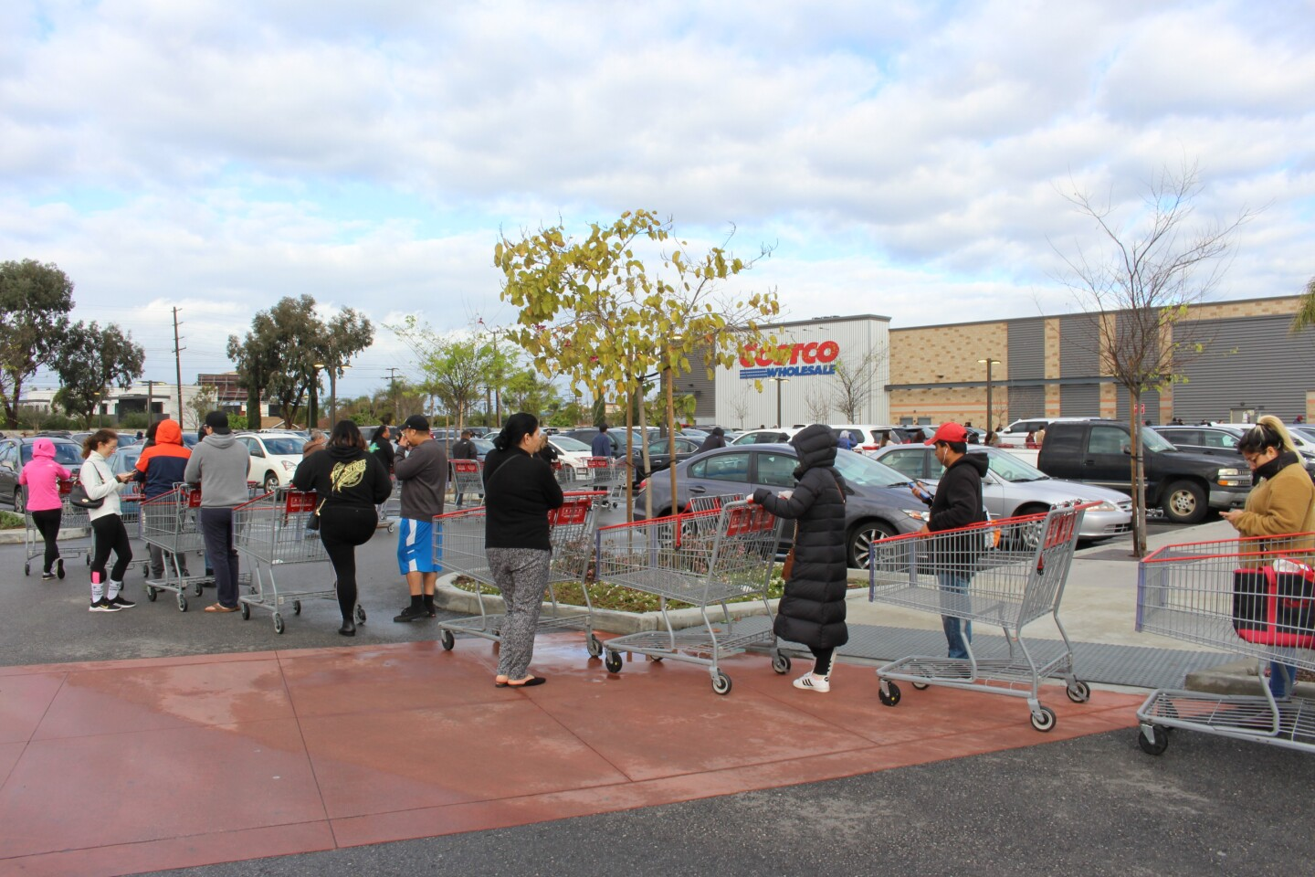 Line of shoppers in parking lot outside of Costco in Marina Del Ray on March 15th, 2020