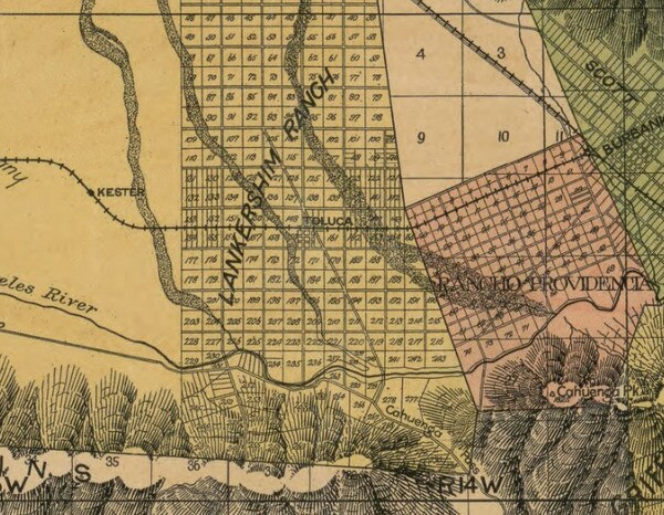 The town that would later be named Lankershim and then North Hollywood appears as Toluca on this 1898 official map of Los Angeles County. Courtesy of the Library of Congress.