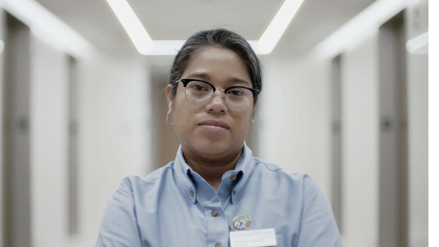 "Veronica Lagunas in one of the offices she cleans. | Still from ""Nightshift"""
