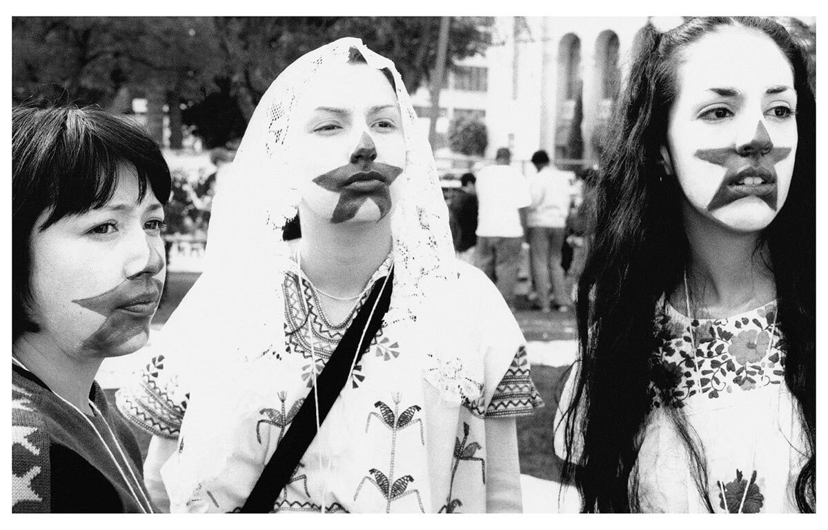 Patricia Valencia, Felicia Montes, and Martina Estrada Melendez at the National Day of Protest Against the Massacre in Chiapas, Los Angeles, January 2, 1998. Photo by Arnoldo Vargas. Courtesy of Arnoldo Vargas Regeneracion