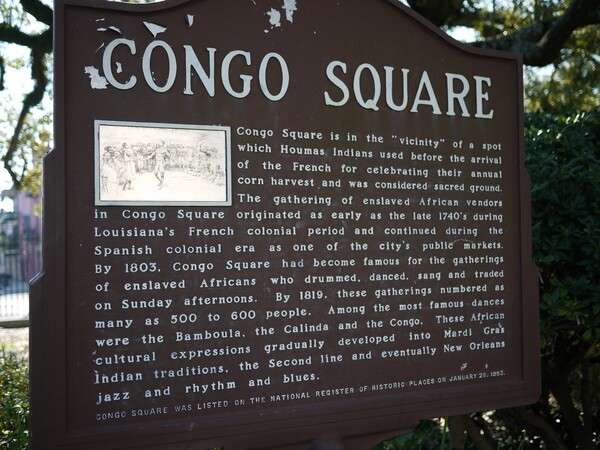 Congo Square information sign in Louis Armstrong Park | Photo by George Villanueva