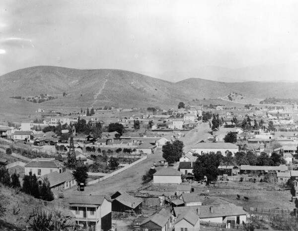Imposing Mount Lookout rises above Sonoratown in this circa 1892 photograph. Courtesy of the Photo Collection - Los Angeles Public Library.