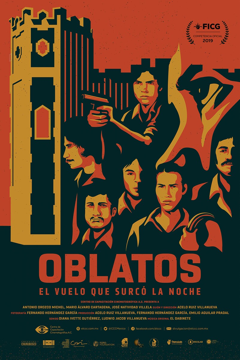 "A poster for ""Oblatos, El Vuelo Que Curco La Noche."" It is a documentary film about jailed student-protestors of the Liga Comunista 23 de Septiembre. 
