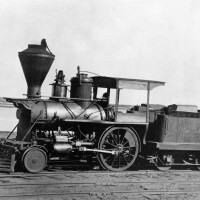 The tiny San Gabriel was the first steam locomotive to haul freight and passengers between Los Angeles and San Pedro. It was later replaced by two larger engines. Courtesy of the Photo Collection, Los Angeles Public Library.