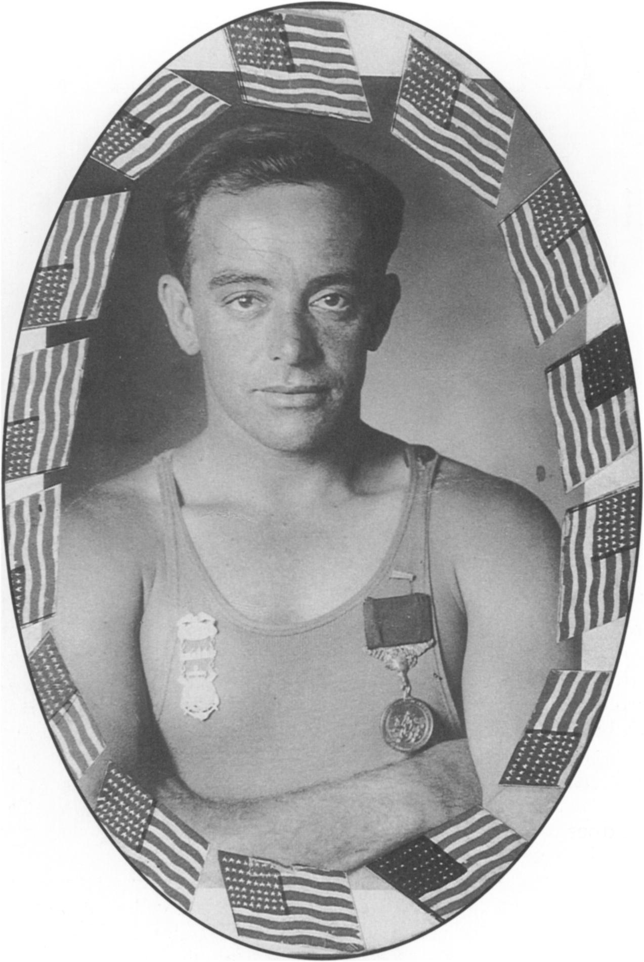 Clad in his everyday work attire, George Freeth is also wear ing the U.S. Volunteer Life-Saving medal for Valor, and his most treasured possession: the Congressional Gold Medal. Courtesy Los Angeles County Lifeguard Trust Fund.