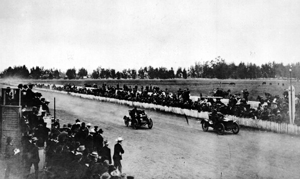 A 1903 automobile race in Agricultural Park. Courtesy of the Automobile Club of Southern California.