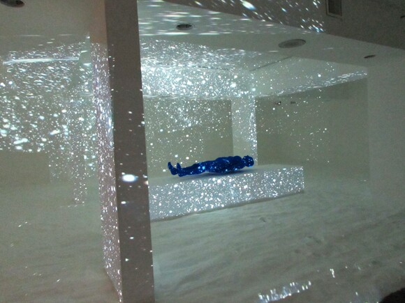 "Site specific installation by Lita Albuquerque for ""Particle Horizon"" at Laguna Art Museum"