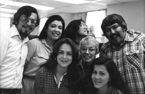Left to right, back: John Valadez, Judithe Hernandez, Dolores Guerrero. Front: Barbara Carrasco and other CRA employees in 1981. Image courtesy of Barbara Carrasco.