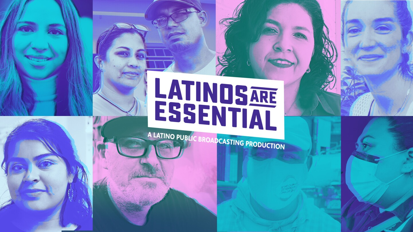 "Key Art for ""Latinos Are Essential"" featuring portraits of Latino Americans."