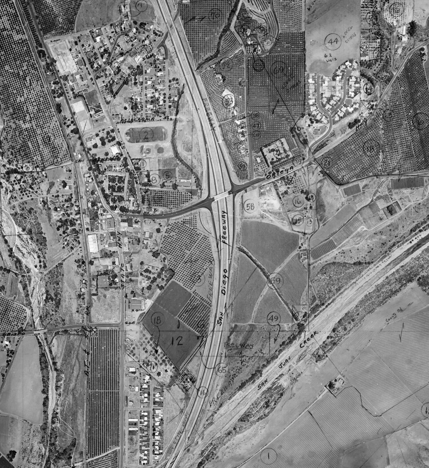 Aerial shot of the San Diego Freeway (I-5) through San Juan Capistrano