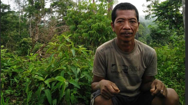 Orang Rimba tribe member Neliti, 45, is pictured in the forest of Bukit Duabelas national park, Sumatra, Indonesia in June 2020.   Anggun Nova/Handout via Thomson Reuters Foundation