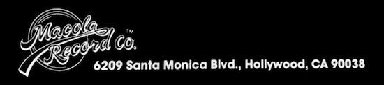 Macola Records logo and address, circa 1987