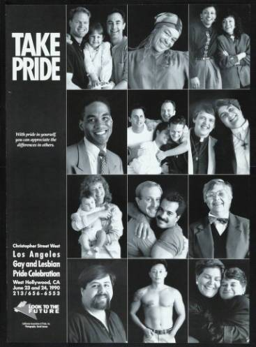 "Take Pride poster featuring the words ""With pride in yourself, you can appreciate the differences in others"" from the 1990 gay and lesbian pride celebration. 