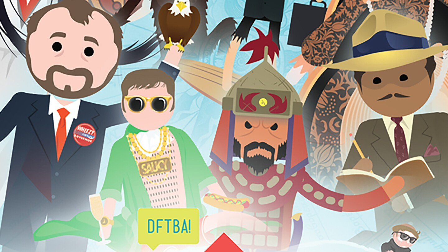 """Graphic illustrations of different figures in history in poster art for """"Crash Course."""""""