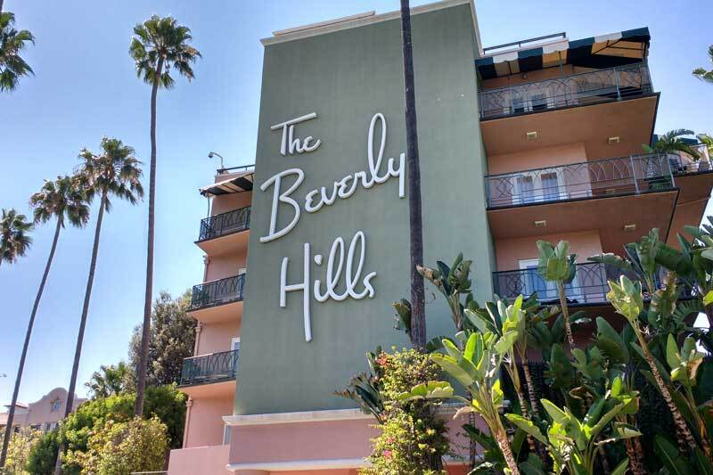 The Beverly Hills Hotel facade.