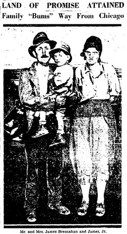 The Bresnahan family was taken in by Minnie Barton after arriving penniless from Chicago | L.A. Times, September 11, 1931