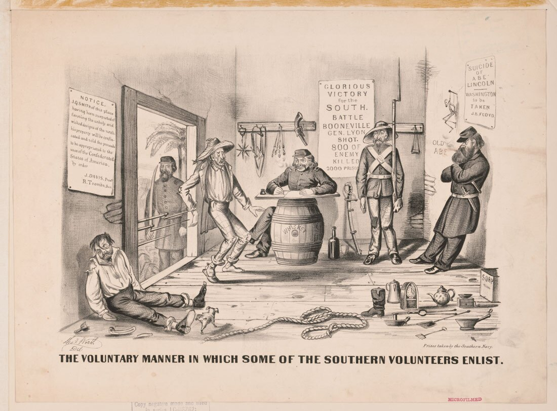 The voluntary manner in which some of the Southern volunteers enlist | Library of Congress
