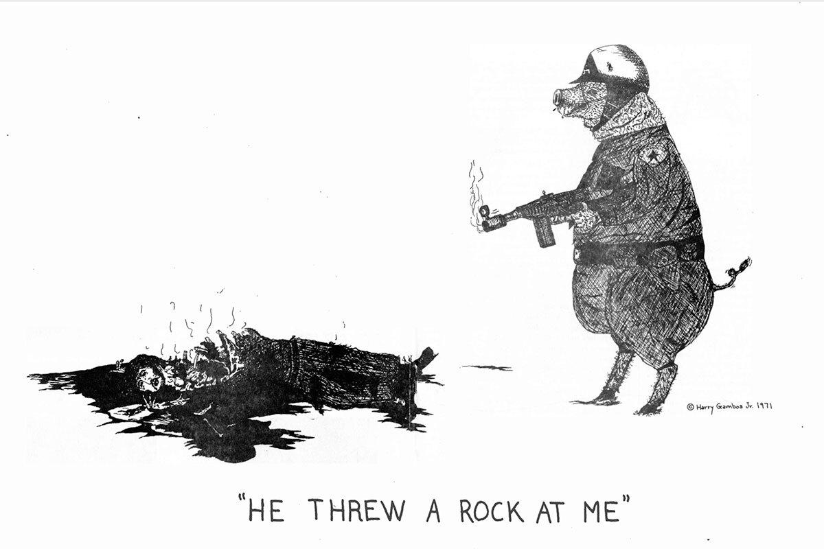 Harry Gamboa Jr. He Threw a Rock at Me featured in Regeneración (Los Angeles), vol. 1, no. 9, 1971. Courtesy of Harry Gamboa Jr. (Editor, Regeneración, Volume 2, 1971–75). Regeneracion