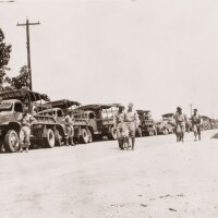 A photograph of an Army convoy, 1941 July 10 | Go for Broke National Education Center Collection, USC Libraries