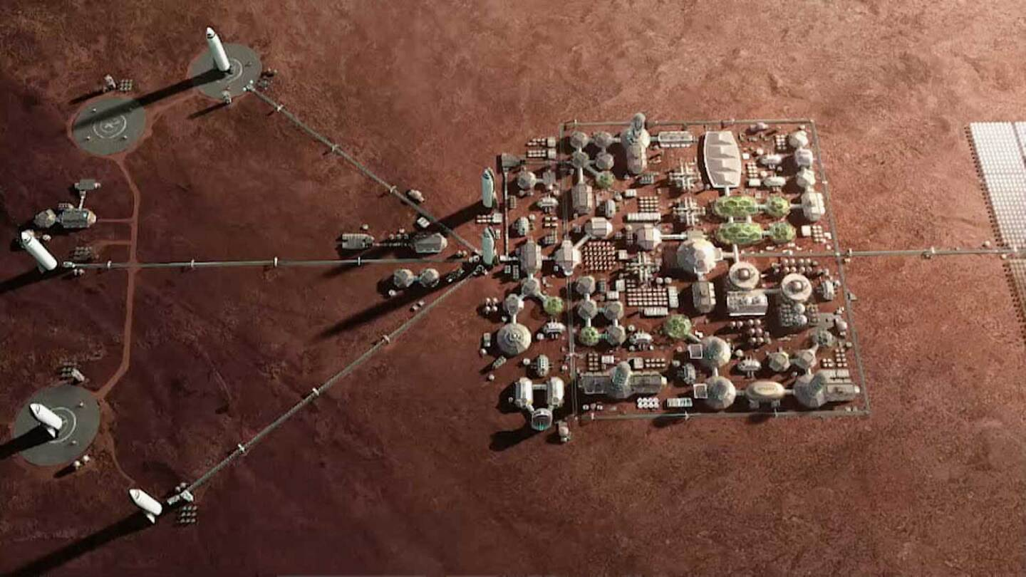 """A rendering of a human-occupied Mars.   Still from """"Blue Sky Metropolis"""" Episode 4"""