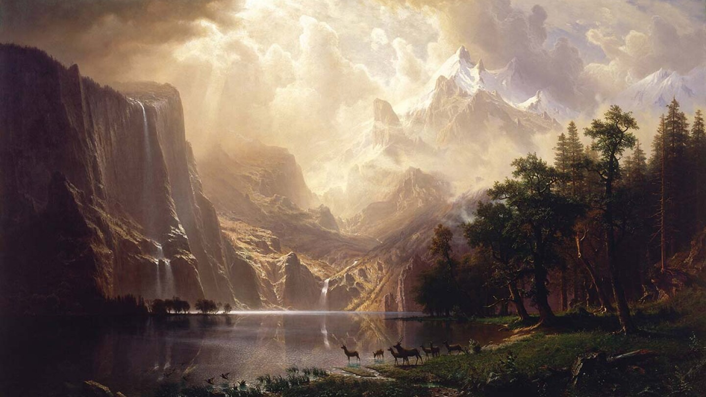 "Albert Bierstadt, Among the Sierra Nevada, California, 1868 | Smithsonian American Art Museum, Bequest of Helen Huntington Hull, granddaughter of William Brown Dinsmore, who acquired the painting in 1873 for ""The Locusts,"" the family estate County, NY."
