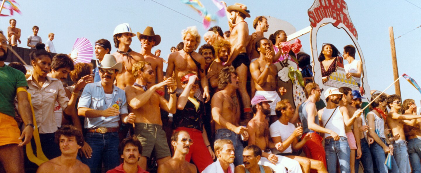 """""""PROBE Summer of 1980"""" float at Los Angeles Christopher Street West pride parade, 1980. 