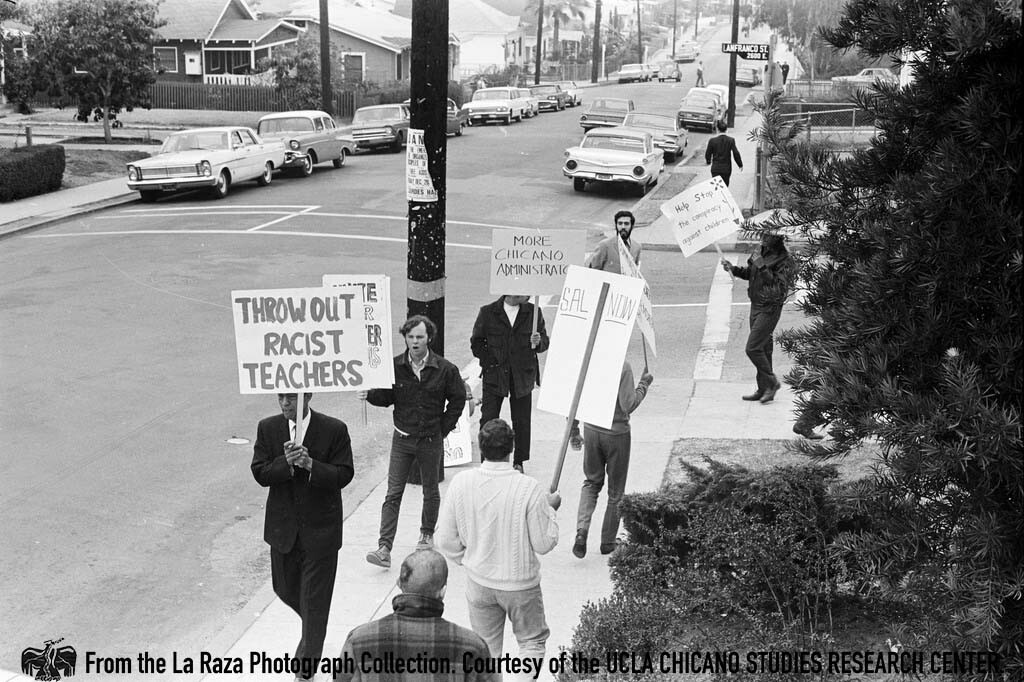 CSRC_LaRaza_B1F3C5_Staff_020 Protesters during Roosevelt High School walkout | La Raza photograph collection. Courtesy of UCLA Chicano Studies Research Center