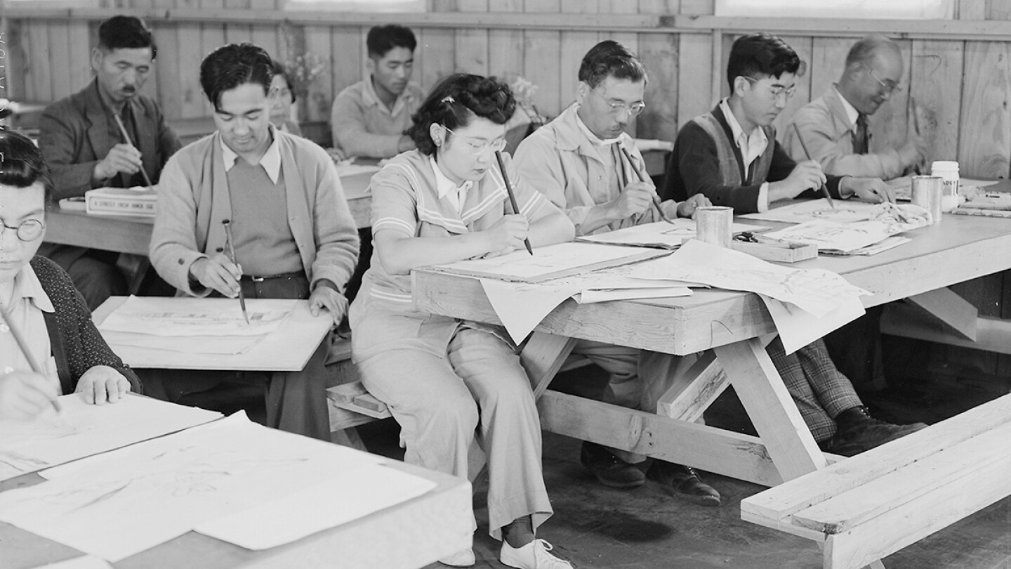 Adult art classes learning freehand brush strokes. | Dorothea Lange, War Relocation Authority Photographs of Japanese-American Evacuation and Resettlement / National Archives  ABs10 MMD