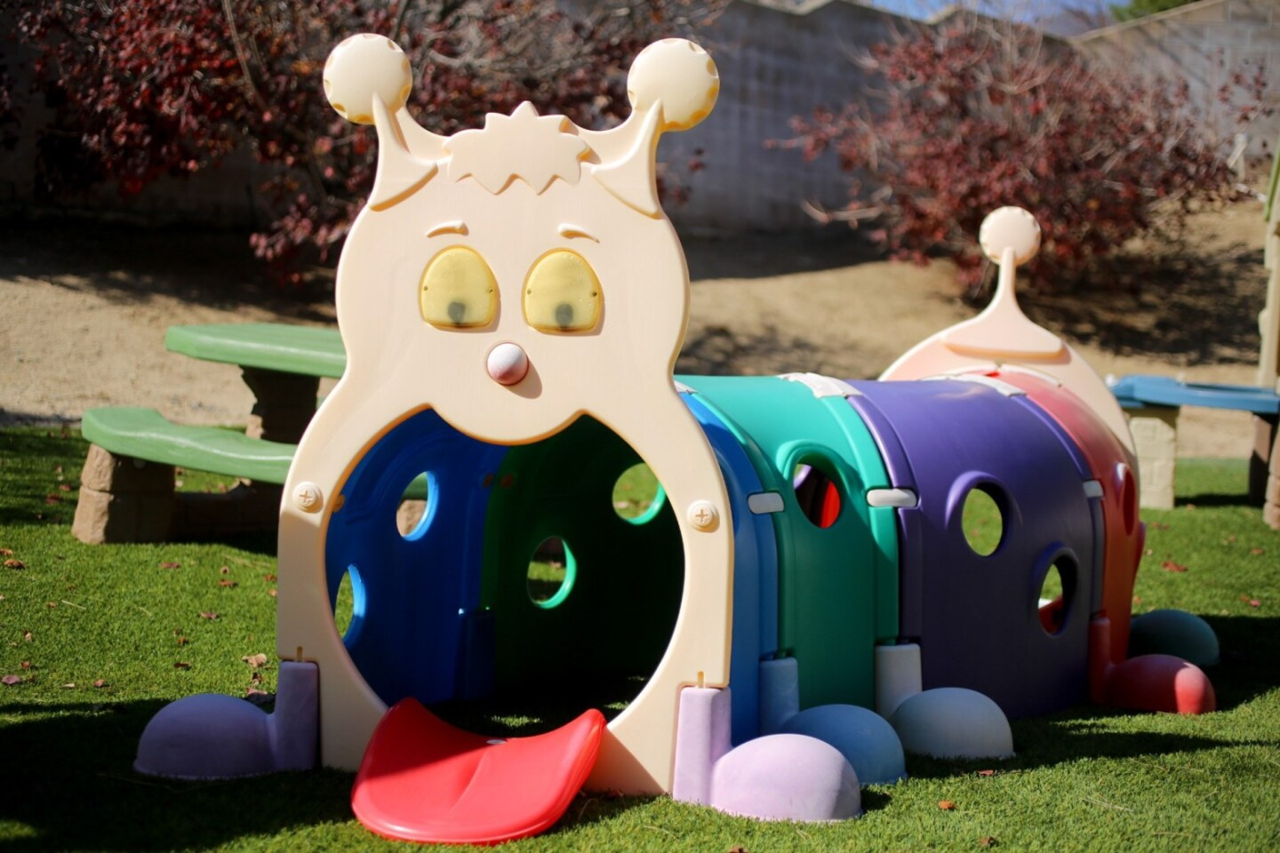 A caterpillar looking play set in Cynthia Bassett's backyard in San Bernardino.