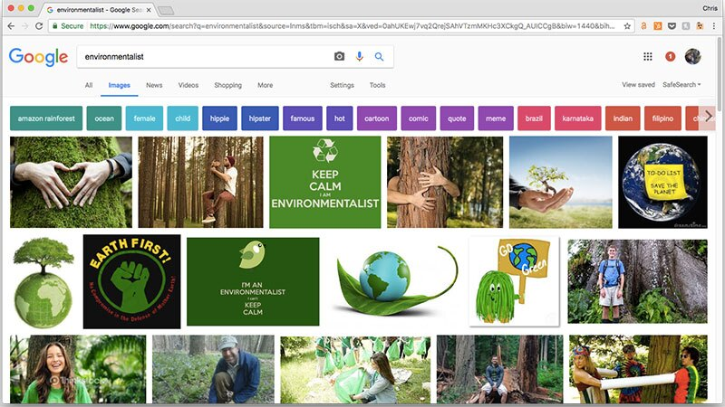 "Google ""environmentalist,"" and what do you find? 