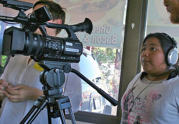 ArtLAB Student Producer Ana Roberto works the camera