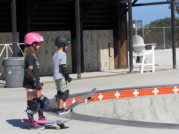 Bella, waiting her turn to dive into a bowl at YMCA Skate Park in Encinitas.