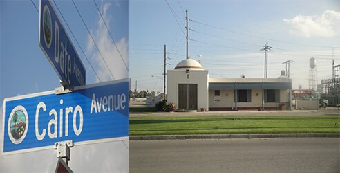 Left: Intersection of Date and Cairo Avenues in Coachella, California. Right: Current Desert Fresh Inc (Former Imperial Irrigation) Building off of Highway 111 and 9th Street in Coachella, California. | Photographs by Margo McCormick.