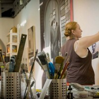 """Rebecca Campbell at work 