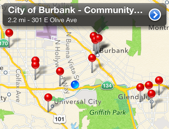 Map of electric vehicle charging locations near KCET's headquarters in Burbank, CA. | Screenshot: Courtesy NREL