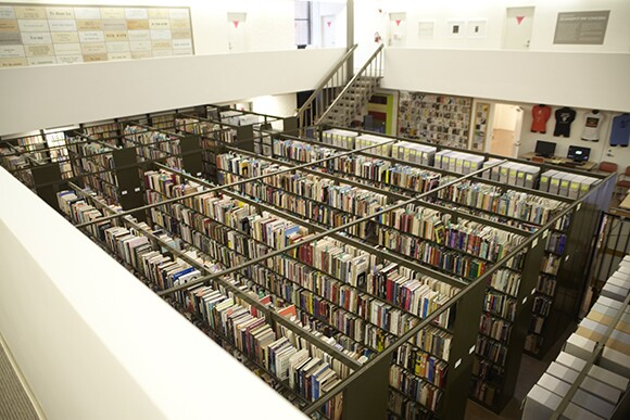 The library stacks at ONE Archives. | Courtesy of ONE Archives at the USC Libraries.
