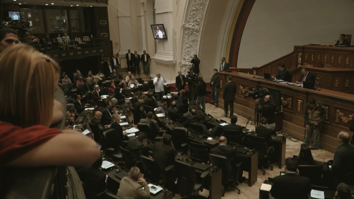 "Politicians in Venezuela's legislative palace. | Still from ""It's All Good"""